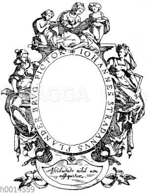 Typographische Umramung: Umrahmung des Brustbildes von Johann de Straet (Stradanus) nach einem Kupferstich von J. Wiericx. 16. Jahrhundert. Flämische Renaissance. (L'art pour tous)