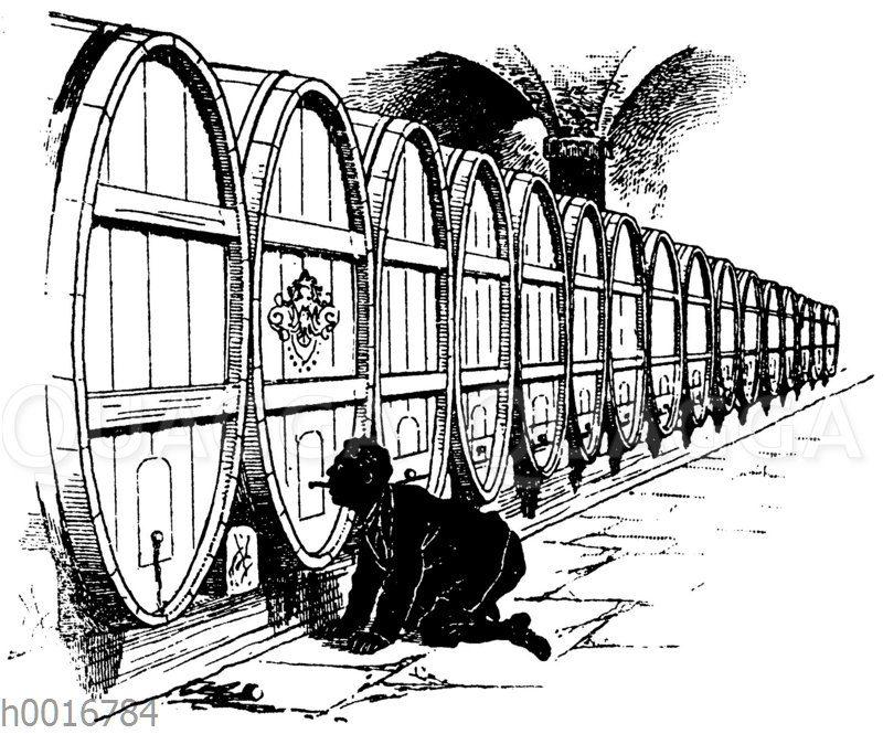Die goldene Gans. Mann in Weinkeller