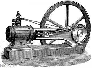 Horizontaldampfmaschine mit Hohlbalkenführung