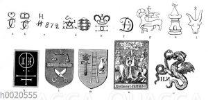 Fabrikzeichen verschiedener Zeiten und Gewerbe. Marken der Porzellanfabriken Frankenthal (a b c)