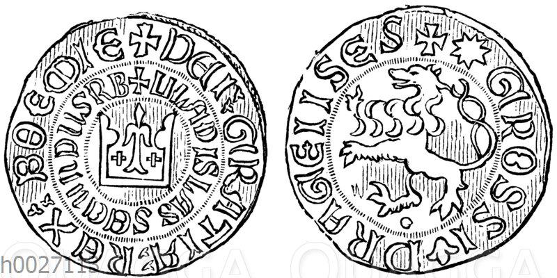 Münze: Böhmischer Groschen aus dem Anfang des 14. Jahrhunderts (König Wenzel II.)
