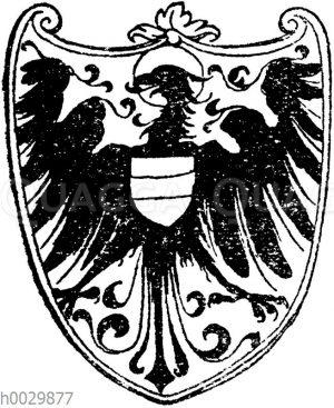 Gotisierender Adler mit Herzschild. Nach Albrecht Dürer