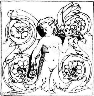 Halbfiguren: Füllungen von einem dreiseitigen römischen Altar.