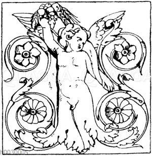 Halbfiguren: Füllung von einem dreiseitigen römischen Altar.