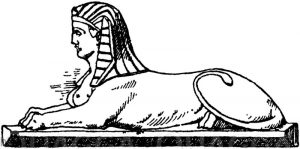 Liegende Sphinx von einem Flachrelief
