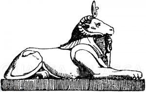 Liegender Sphinx mit Widderkopf. Ägyptisch. (Raguenet)
