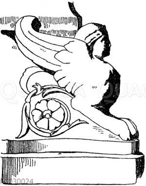 Sphinx: Untere Ecklösung eines antiken Kandelabers. Römisch.