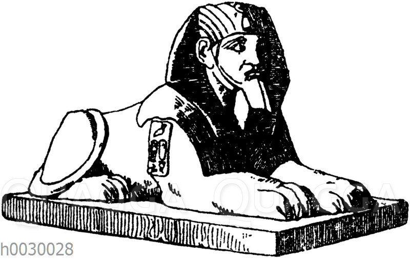 Liegender Sphinx. Ägyptisch. Original im Louvre in Paris. (Raguenet)