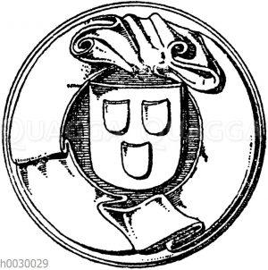 """Fliegende Bänder: Spruchband vom Siegel der Stadt Schiltach. Original Silber. Gotisch. Auf dem Bande die Inschrift: """"S. opidi schilttach"""""""