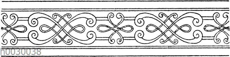 Flechtbänder: Einfassung einer Damastbordüre von Schmidt in München. (Gewerbehalle)