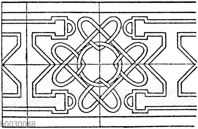 Intarsia-Motiv aus Sta. Maria in Organo in Verona. (Im Original sind die Zwischenräume durch Pflanzenranken belebt)