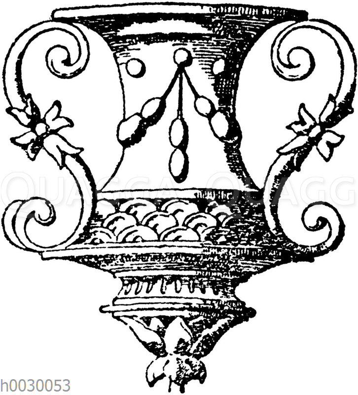 Vasenornament aus einem Pilaster vom Grabmal Louis XII in St. Denis. Französische Renaissance.