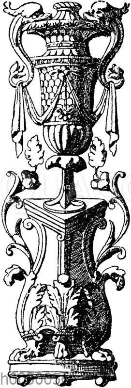 Vasenornament. Untere Partie einer Füllung. Ital. Renaissance.