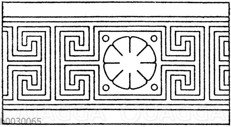 Symmetrische Mäander: Geschlossene Mäander (aus einzelnen geschlossenen Figuren zusammengesetzt). Zweiaxig-symmetrisch. Griechisch und 19. Jahrhundert.