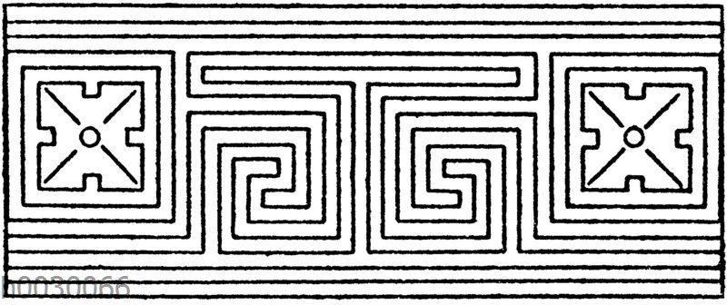 Symmetrische Mäander: Geschlossene und geschmückte Mäander (aus einzelnen geschlossenen Figuren zusammengesetzt). Griechisch und 19. Jahrhundert.