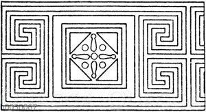 Symmetrische Mäander: Geschlossene und geschmückte Mäander (aus einzelnen geschlossenen Figuren zusammengesetzt). Zweiaxig-symmetrisch. Griechisch und 19. Jahrhundert.