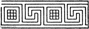 Unsymmetrische oder laufende Mäander nach griechischen Vasenmalereien: Geschmückte Mäander (durch Rosetten