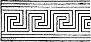 Unsymmetrische oder laufende Mäander nach griechischen Vasenmalereien: Uneigentliche Mäander (nicht durch ein fortlaufendes Band