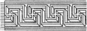 Mäander: Parallelperspektivisches Mäanderschema von einem römischen Mosaikboden.