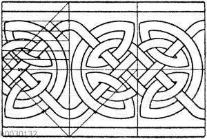 Nordisches Flechtbandmotiv. Schriftverzierung aus dem 8. und 9. Jahrhundert. (Racinet)