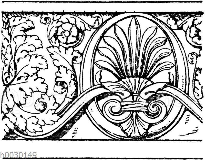 Laufende Endigungen: Römisches Friesornament. Restauriert. (Fragments de l'architecture antique)