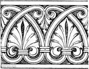 Laufende Endigungen: Romanisches Friesornament aus dem 13. Jahrhundert. (Musterornamente)