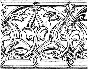 Laufende Endigungen: Arabisches Ornament aus der Moschee des Sultans Hassan in Kairo. 14. Jahrhundert.