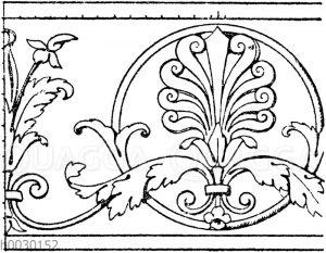 Laufende Endigungen: Marmorfries. Ital. Renaissance. Vom Grabmal des Conte Ugone