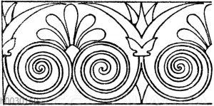 Laufende Endigungen: Verzierung vom Bauch einer griechischen Hydria. (L'art pourtous)