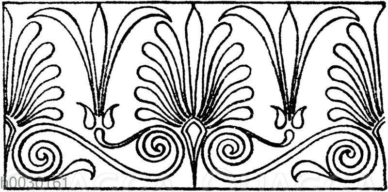 Laufende Endigungen: Griechisches Sima-Ornament.