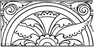 Laufende Endigungen: Mittelalterliche Wandmalerei aus einer schwedischen Kirche. (Racinet)
