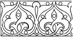 Laufende Endigungen: Ornament auf Holz gemalt. Dom in Brandenburg. (Vorbilder für Fabrikanten und Handwerker)