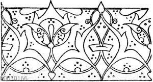 Laufende Endigungen: Verzierung eines arabischen Korans vom Grab des Sultans El-Ghoury. 16. Jahrhundert (Prisse d'Avennes)