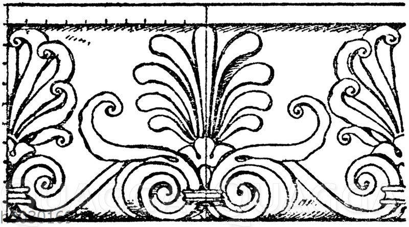 Simaornament: Marmorfries von einem Grabmal in Sta. Maria sopra Minerva in Rom. Ital. Renaissance.
