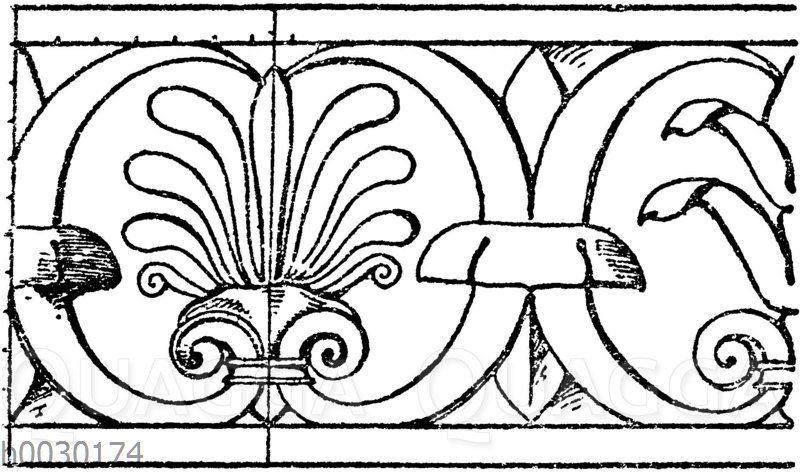 Simaornament: Verzierung vom Gesims eines dreiseitigen römischen Altars.