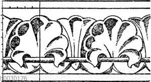 Simaornament: Romanische Gesimsverzierung von einem Haus in Metz. 12. Jahrhundert (Raguenet)