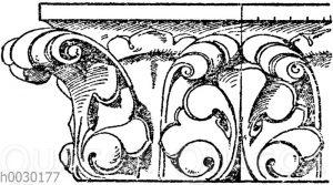 Simaornament: Frühgotische Gesimsverzierung aus Notre Dame in Paris. 13. Jahrhundert. (Musterornamente)