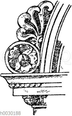 Stirnziegel: Akroterie und Eckakroterie von einem Brunnen in der Certosa bei Florenz. Ital. Renaissance.