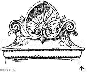Stirnziegel: Französischer Stirnziegel vom Orleans-Bahnhof in Paris. Architekt Renaud