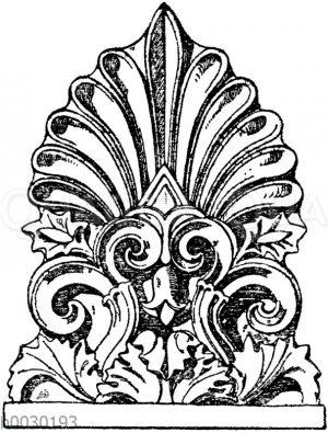 Stirnziegel: Griechischer Stirnziegel von den Propyläen in Athen. (Raguenet)
