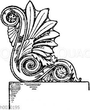 Stirnziegel: Seitenansicht einer Eckakroterie nach Bötticher.