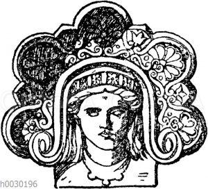 Stirnziegel: Graeko-italischer Stirnziegel aus gebranntem Ton. Museum in Perugia