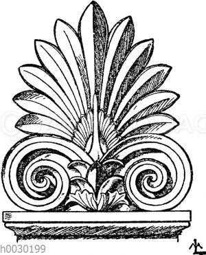 Stirnziegel: Griechische Grabsteinkrönung von der Form eines Stirnziegels.