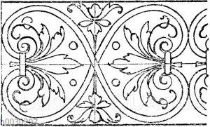 Palmettenband: Beliebtes Intarsiamotiv der ital. Renaissance.