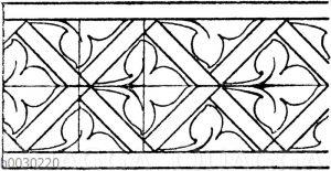 Blattbänder und Rankenbänder: Von einem Glasfenster aus der Kathedrale in Bourges. 14. Jahrhundert (Racinet)
