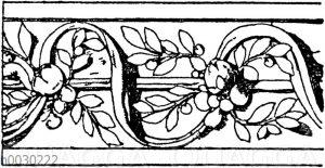 Blattbänder und Rankenbänder: Archivoltverzierung einer Tür am Otto-Heinrichsbau des Heidelberger Schlosses. Deutsche Renaissance.