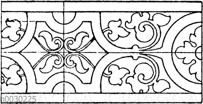 Blattbänder und Rankenbänder: Terrakottafries aus Schloss Schalaburg in Nieder-Österreich. (Wiener Bauhütte)