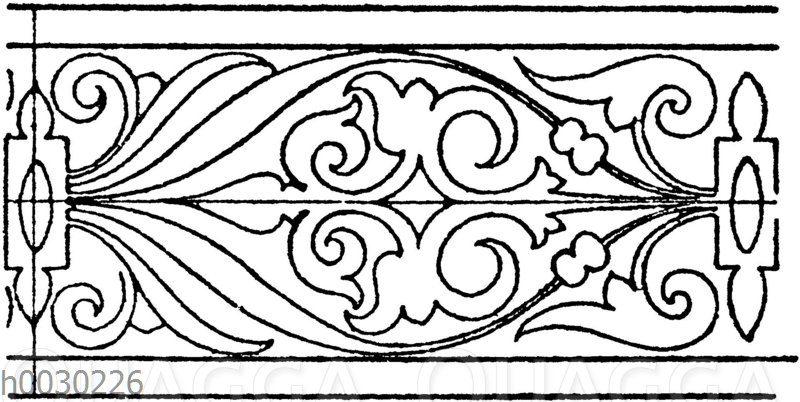 Blattbänder und Rankenbänder: Intarsiafries aus dem Schloss Schalaburg in Nieder-Österreich. (Wiener Bauhütte)
