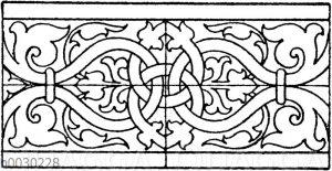 Blattbänder und Rankenbänder: Gewandsäume von Grabmälern in Niederstetten und Lensiedel. 16. Jahrhundert (Musterornamente)