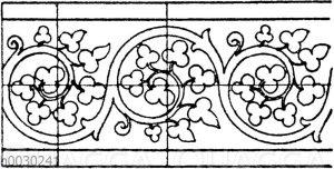 Blattbänder und Rankenbänder: Romanische Initialverzierung aus dem 13. Jahrhundert. Berliner Museum.